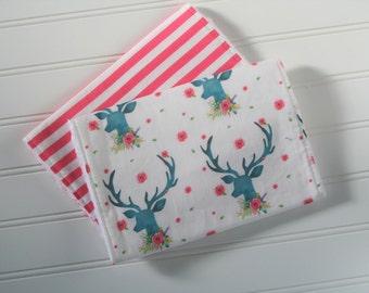 Deer Burp Cloths | Floral Deer Burp Cloths | Baby Burp Cloths | Burp Rags | Baby Gifts