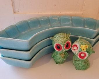 California Pottery Retro Blue serving trays