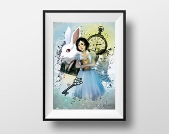 Alice Liddell poster - Digital Illustration printed on A4 photo paper
