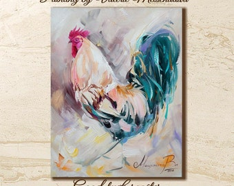 Rooster painting, Cock, Wall art Animals, Bright painting, Original painting, New Year gift, Symbol 2017 , Birds painting, Country home art