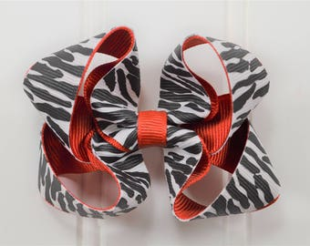 Zebra Print Boutique Bow - Zebra Print Hair Bows - Boutique Bows - Safari Birthday - Safari Party Favors - Animal Print Hair Bows