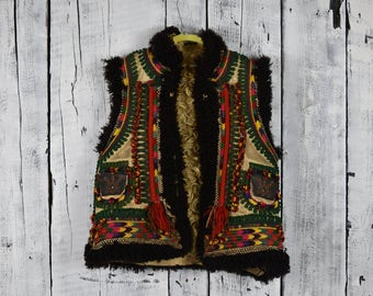 Antique Ukrainian vest / Traditional Ukrainian  sleeveless shirt / Hutsul vest kiptar / Ukrainian folk sleeveless fur sheepskin coat