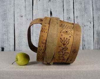 Vintage antique wooden basket / Antique handmade wooden basket / Rustic folk decor / Country farmhouse decor