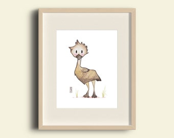 Emu - Australian Animal Nursery Watercolour Print