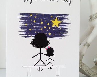 Mother's Day Card Daughter, Mom, Mam, Mum, Daughter, Mother's Day Card, Stars and Moon, mommys girl, Love, Father's Day, Stickmen, Handmade