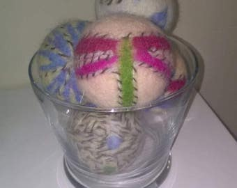 Sale! Wool balls. Needle and wet felted. Decoration or dryer balls. Set of 5, Ready to ship!
