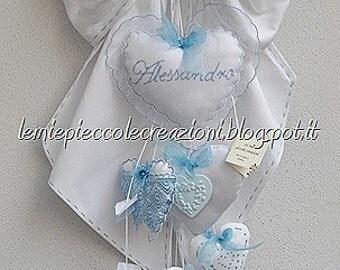 Stitchable hearts and scented chalks, Newborn, Hospital door hanger, Baby shower decoration, Handmade