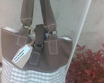 Brown and white cotton canvas  tote  bag hand bag