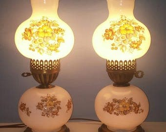 Vintage Milk Glass Lamp w/ Flowe Shade, Gone With the Wind Style 3 way