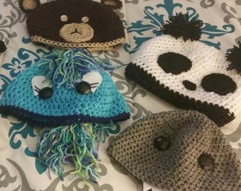 Wild things crochet animal beanies for all ages.