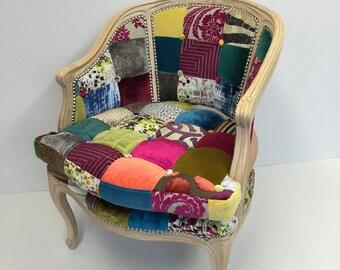 Stunning bespoke designer patchwork chair