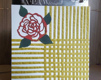 Rose and vine blank greetings card