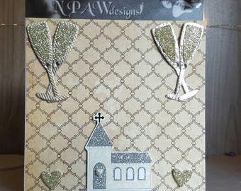Gold wedding card - blank greetings card