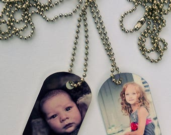 "100 Photo Dog Tags, Military size. With your photo printed in full color. All the same. 30"" chains included."