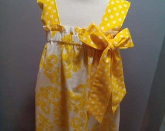 Meloney's Design handmade 4t yellow and white dress