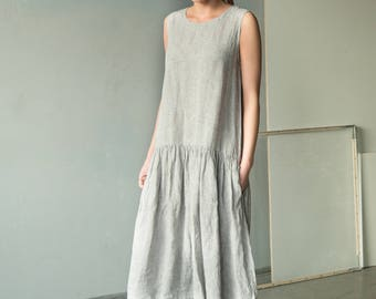 NEW Long linen dress | loose linen tunic | grey loose dress | plus size dress | loose fitting linen beach dress | linen summer dress
