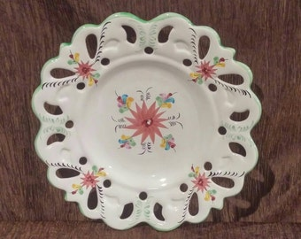 Vestal Alcobaca decorative plate, lace cut edge, vintage portugese dish, free shipping