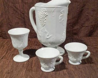 Colony Harvest Milk Glass pitcher and cups, free shipping