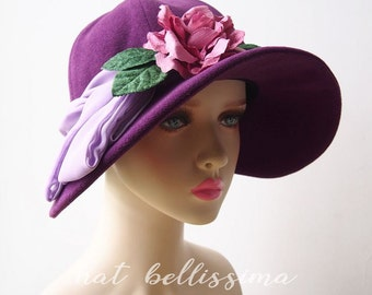 SALE Purple 1920's  Hat Vintage Style hat winter Hats hatbellissima ladies hats millinery  big brim hats