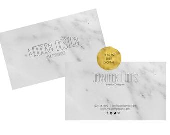 Printable business card, custom business card, marble business card, modern