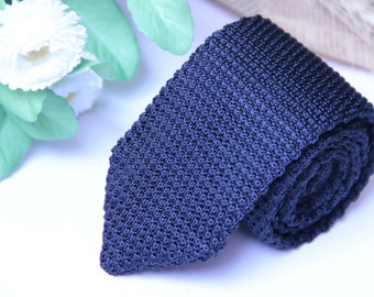 Grey Knit Tie for Men Gift for Him Gray Knitted Tie Groomsmen Knit Ties
