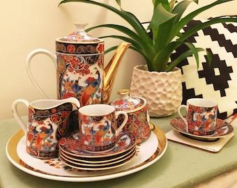 Vintage Coffee Set - Japanese Imari-Arita Peacock Porcelain 13pc Set c.1980s