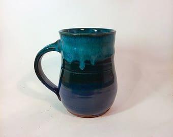 Wheel thrown pottery mug, ceramic mug, blue mug, coffee mug, tea cup, pottery mug, stoneware mug, handmade mug, blue pottery mug pottery cup
