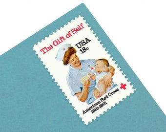 Pack of 25 Unused American Red Cross Stamps - 18c - Vintage 1981 - Unused Postage - Quantity of 25 -Clara Barton