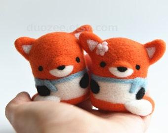 Handmade Needle Felted Fox,  Woodland Animals, Felted Fox, Felt Fox