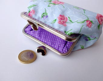 Coin Purse, Metal Frame Purse, Flowers Print, Gift for Woman