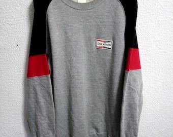 Sale Vintage Champion Spark Plug Sweatshirt Grey Colour