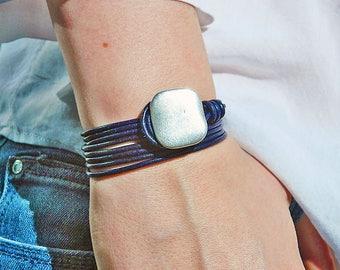 Wrap Boho bracelet,wrap bracelet,leather wrap bracelet,beaded wrap bracelet,leather bracelet, silver plated,beaded bracelet,PC029