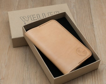 Leather Passport Cover, Leather UK Passport Cover, British Passport Cover, Sleeve, Natural Colour