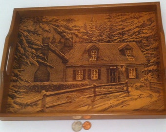 Vintage Wooden Serving Tray, Plaster, House in the Woods, 15 x 11 1/2 inches, Quality Hardwood, Etched Engraved House, Snack Tray, Display