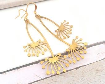 Brass Dandilion earrings