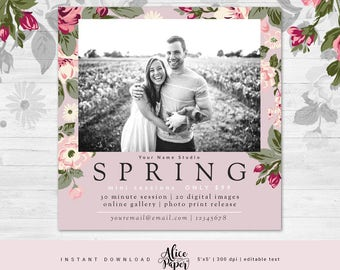 Spring Mini Session Template, Easter Mini Sessions, Marketing Board, Photoshop Template, Photography Marketing Set, PSD, pink floral