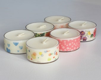 Handmade Soy Wax Tealights in Shades of Floral