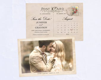 Save the Date Postcard, Vintage, Romantic, Customized with Your Wedding Details! (Printable)