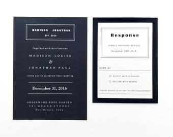 Solid Navy Blue Wedding Invitation Suite, Modern Navy Wedding Invitations, Classy, Luxe Shimmer and Cotton Wedding Invitation Set,
