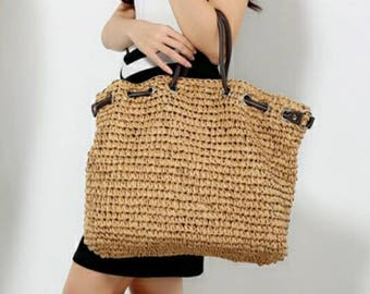 Straw handbag, Beach bag, Hobo bag, Everyday bag