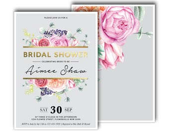 Blush Pink, Coral and Mint Floral Bridal Shower Invitation, Peony, Roses, Сhokeberry, Eucalyptus, Magnolia, Succulent, Gold, Foil (Primrose)