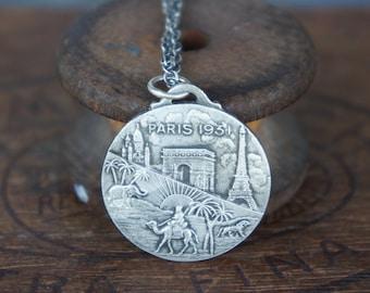 Solid Silver Paris 1931 Medallion Necklace