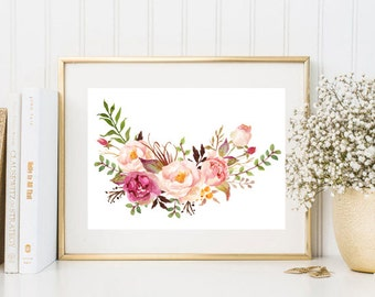 Watercolor print peonies bouquet wreath illustration watercolour painting poster wall art decor download print poster pink print digital