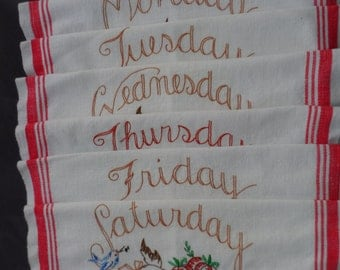 Vintage Red and White Cotton Days Of the Week Kitchen Towels With Hand Embroidered Daily Scenes with Dogs   991