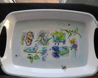CLEARANCE Trudeau Melamine/Plastic Serving Tray White. Purple,Blue Flowers,Lady Bugs and Bee  Spring, Summer   1096