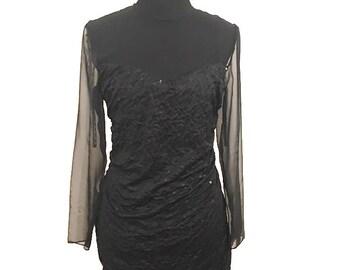 Vintage 1980's Roberta Black Sheer, Sheer, Scrunched Evening, Vintage Prom Dress, Formal Dress, Little Black Dress /