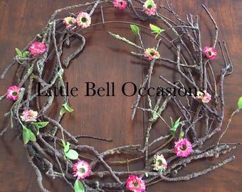 Wreath/Willow Twig Leaf/Natural/Every Day/Rustic/Pink/Country//Rusted Metal Frame/Dried Flowers/Home Decor/Front Door/Simple/Room/CoolPretty