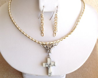Assorted Semiprecious Stone Cross on Chainmaille and Braided Leather