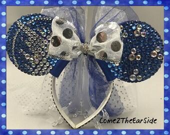 Sleeping Beauty Castle Hidden Mickey Disney Inspired Rhinestone and Pearl Bedazzled Bling Disney Rhinestone Mickey Minnie Mouse Ears