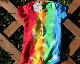 Tiny Striped Tie Dye Onesie (0-3)